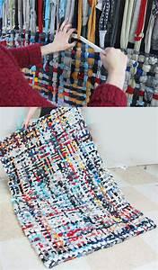 Teppich Selber Weben : gewebter teppich aus stoffstreifen weben diy teppiche bastelarbeiten und gewobener teppich ~ Orissabook.com Haus und Dekorationen