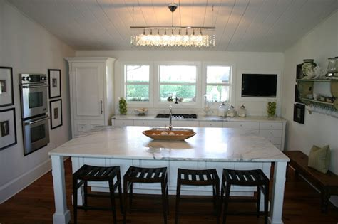 Linear Strand Crystal Chandelier   Cottage   kitchen