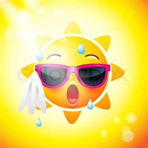 sun face icons  yellow funny faces stock vector