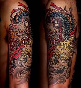 Simple sugar skull tattoo, dragon and skull sleeve tattoos ...