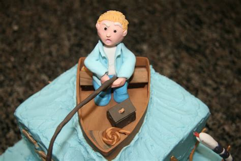 Man In Fishing Boat Cake Topper by Grooms Fishing Cake Topper Sewgrateful Quilts