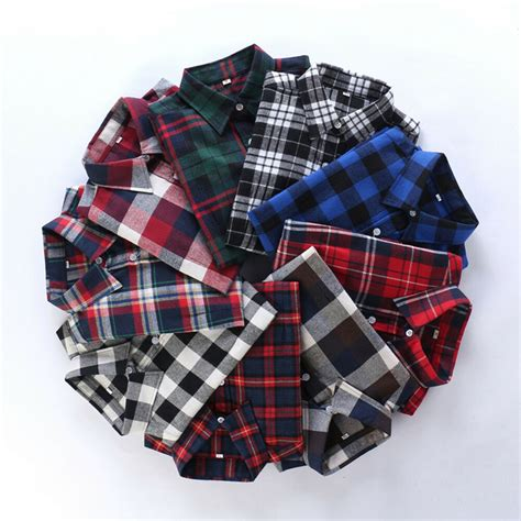 Womens Campus Plaid Check Shirt Long Sleeve Flannel Button