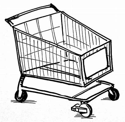 Shopping Cart Drawing Coloring Mall Reference Webshop