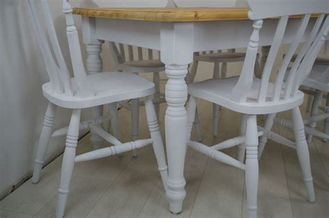 Pine Table and 6 Beech chairs Painted Vintage, Antique