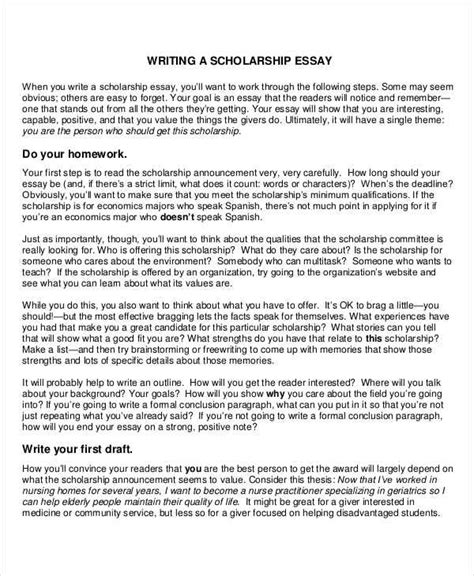 scholarship essay 10 scholarship essay exles sles pdf