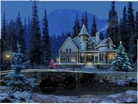 3d Snowy Cottage Animated Wallpaper - 3d snowy cottage screensaver pictures to pin on
