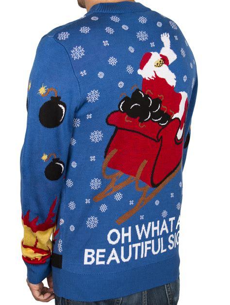 la police gear santa droppin bombs christmas sweater