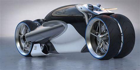 Romain Gauvin Designs Futuristic Four-wheel Bugatti 100m Concept Motorbike