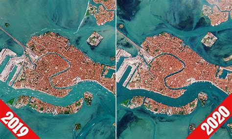 ESA satellite images the waterways of Venice are now empty ...