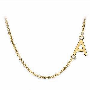 sterling silver or gold plated sideways letter 18 inch With gold letter chain