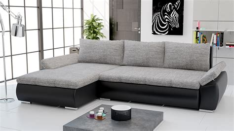 canap d angle noir tissu canapé d 39 angle convertible en pu noir et tissu gris