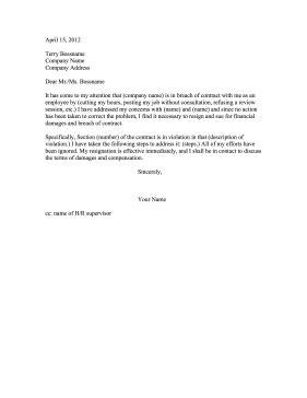 breach  contract resignation letter