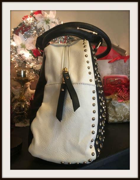 rhinestone metal studded black white handbag faux leather vegan handbag bag shoulder