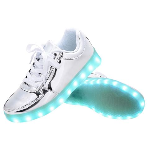 light up shoes usb charging led light up shoes sneakers silver