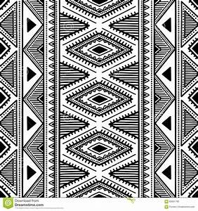 Seamless Ethnic Pattern. Black And White Vector ...