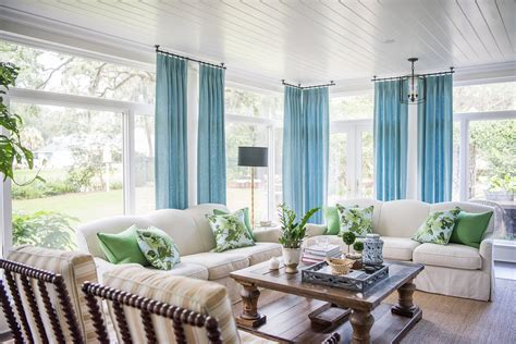 Create Blue White Sunroom by Makeover Reveal A Bright And Playful Sunroom Lavin Label