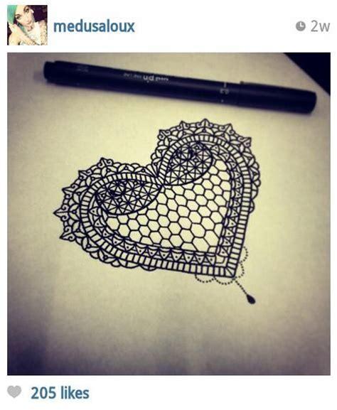 Intricate Lace Heart Tattoo Design  Tats Pinterest