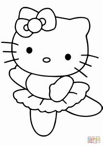 Hello Kitty Ballerina Coloring Page Free Printable