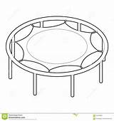 Trampoline Outline Jumping Icon Illustration Vector sketch template