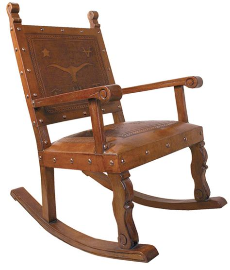 tooled leather rocking chair free shipping