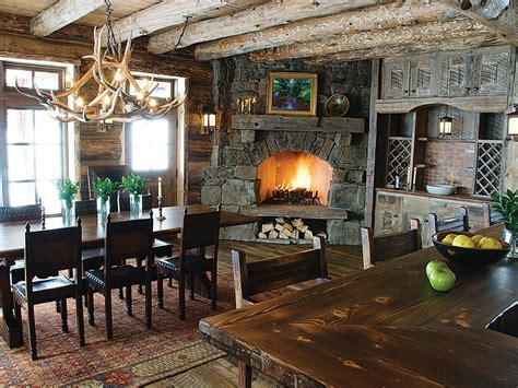 rustic dining room  corner fireplace  exposed
