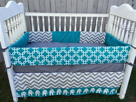 Teal And Grey Baby Bedding by Elephant Baby Bedding Teal Grey Crib By Sewsweetbabydesigns