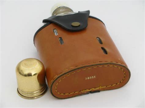 vintage swank pocket flask glass bottle  leather case cover