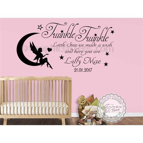personalised twinkle twinkle little star nursery wall sticker baby boy girl bedroom wall quote