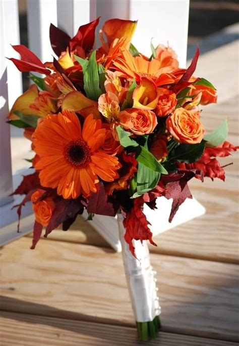 Orange Fall Wedding Flowers Bouquet