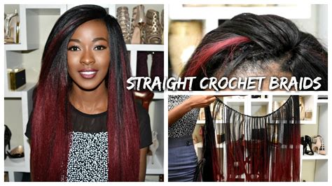 Straight Burgundy Ombre Crochet Braids 24 Inches Long