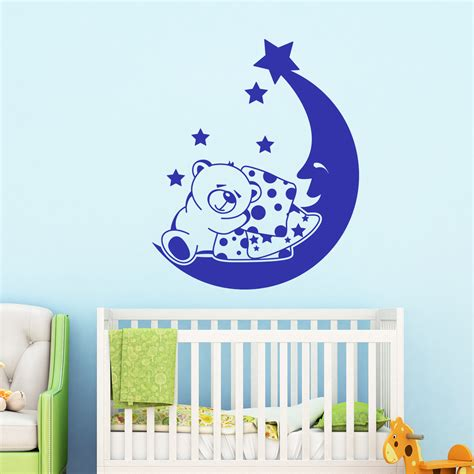 stickers chambre bébé nounours sticker nounours fait dodo avec la lune stickers bébés