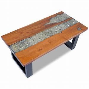 Table En Bois Et Resine : vidaxl coffee table teak resin 100x50 cm ~ Dode.kayakingforconservation.com Idées de Décoration