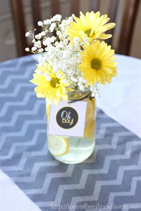 gray yellow baby shower decorating ideas love