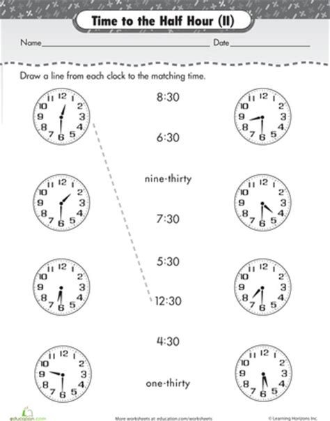 Telling Time Matching Worksheets Kindergarten  Telling Time By The Quarter Worksheet « Filipino