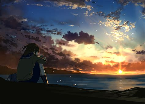 Lonely Anime Wallpaper - 3891x2796 anime lonely sunset