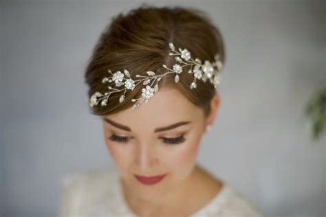 Wedding For Short Hair : Sparkling Crystal And Pearl Silver Bridal Hair Vine