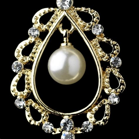 gold ivory pearl clear rhinestone chandelier earrings 26599