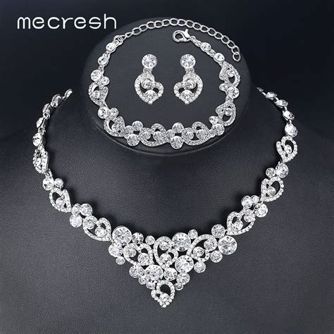 mecresh heart crystal wedding bridal jewelry sets silver