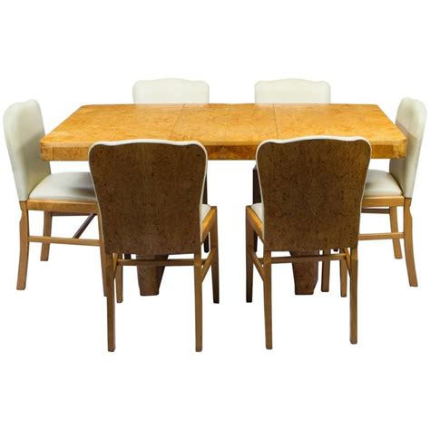 maple dining table set antique art deco bird 39 s eye maple dining table and six