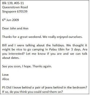 expressoul club informal letter sample