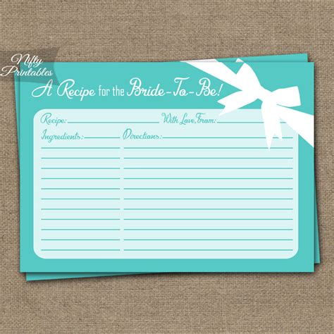 bridal shower recipe cards templates printable bridal shower recipe cards blue