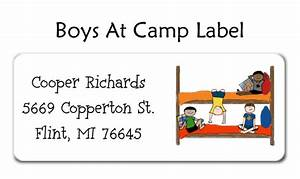Boys at camp adress label by amy adele for Camp address labels