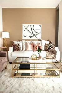 Rose gold and pink living room modern home design ideas for Kitchen cabinet trends 2018 combined with wall art live laugh love