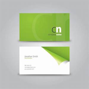 Curled corner business card download free vector green for Vector business card