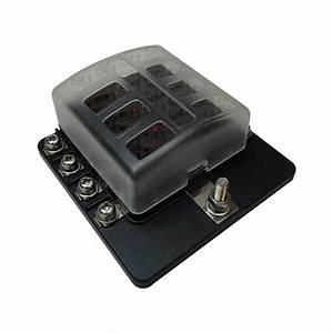 Universal 8 Way Covered 12v Circuit Blade Fuse Box Led