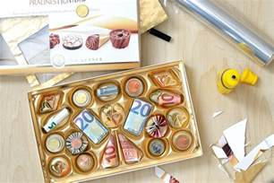 hochzeitsgeschenke originell pralinés monnaies geldgeschenk kreativ verpacken herbs chocolate