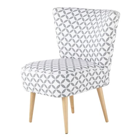 fauteuil vintage  motifs en coton gris  blanc scandinave maisons du monde