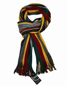 Striped Scarf Mens Luxury Knitted Ribbed Scarves Gold ...