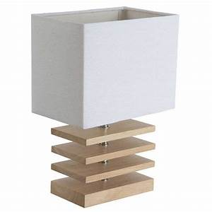 Lampe De Chevet Bois : lampe design bois et abat jour blanc achat sur lampe avenue ~ Teatrodelosmanantiales.com Idées de Décoration