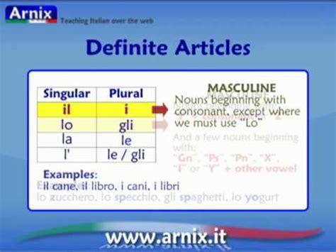 Italian Articles  Part 1 Definite Articles Youtube